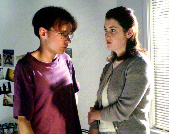 Me, looking skinny and worried, directing Melanie Lynskey